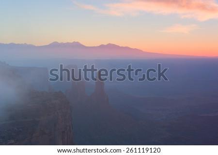 Canyonlands Fog - stock photo