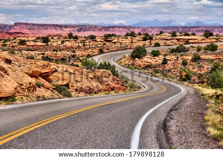 Canyonlands National Park in Utah, USA. Island in the Sky district - winding road. - stock photo