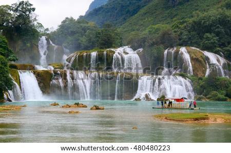 Cao Bang, Vietnam - Dec 22, 2014: View of Ban Gioc - Detian waterfall in Cao Bang, Vietnam.