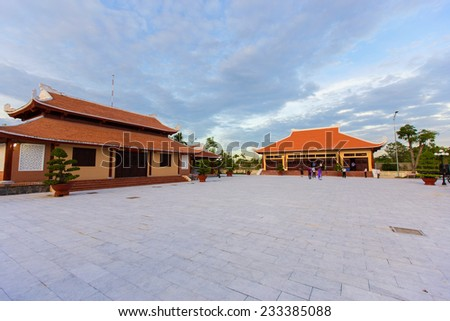 Cao Van Lau statue of memorial house. Cao Van Lau is famous traditional music in Vietnam. The folk music was one of UNESCO of Intangible Cultural Heritage - stock photo