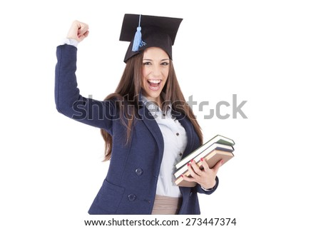 cap and woman with victory gesture isolated - stock photo