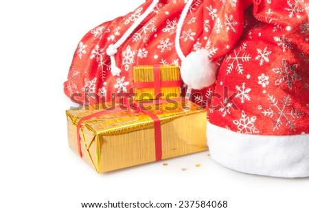 cap, bag and box - stock photo
