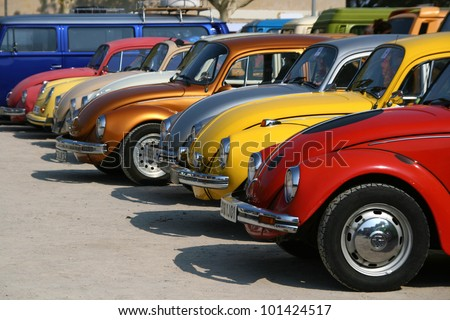 CAP D'AGDE, FRANCE - SEPTEMBER 13: Volkswagen Beetles of various colors exhibited during the 16�° Volkswagen Meeting in Cap d'Agde, France, on September 13, 2009.