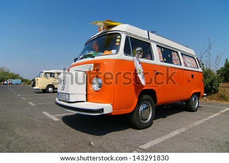 CAP D'AGDE, FRANCE - SEPTEMBER 12: Volkswagen Westfalia Camper on September 12, 2009 in the 16th Volkswagen Meeting in Cap d'Agde, France. - stock photo