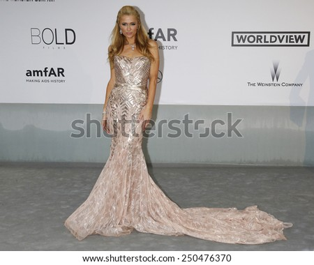 CAP D'ANTIBES - MAY 22: Paris Hilton at the amfAR's 21st Cinema Against AIDS Gala at Hotel du Cap-Eden-Roc on May 22, 2014 in Cap d'Antibes, France - stock photo
