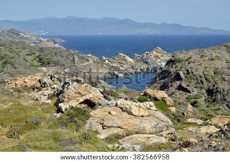 Cap de Creus is a peninsula and a headland located at the far NE of Catalonia in Spain - stock photo