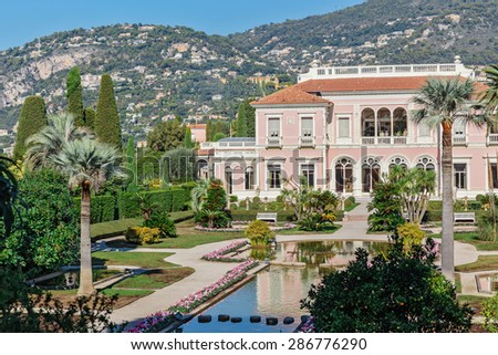 CAP FERRAT, FRANCE - OCTOBER 29, 2014: Villa Ephrussi de Rothschild - stock photo