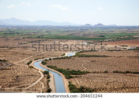 CAP Irrigation water being supplied to crops on the reservation near Phoenix, Arizona - stock photo