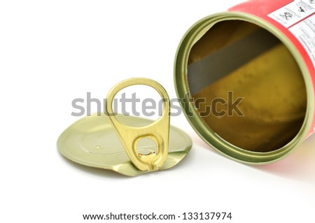 cap of tin can on a white background