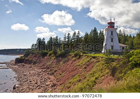 Cape Bear Lighthouse on eastern Price Edward Island, Canada - stock photo
