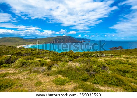 Cape Bruny Lighthouse is located within the South Bruny Island National Park, Tasmania, Australia. Bruny Island is an island located along the southeast coast of Tasmania. - stock photo