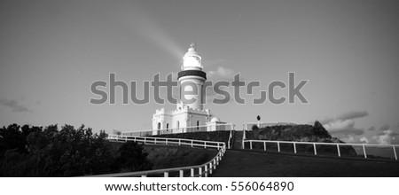 Cape Byron lighthouse in NSW, Australia. Black and white image.