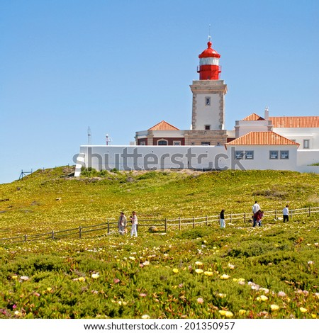 CAPE CABO DA ROCA, PORTUGAL - MAY 01, 2009: Cabo da Roca Lighthouse, Portugal. Cabo da Roca is the most westerly point of the Europe mainland. Square image