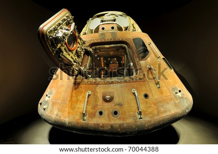 CAPE CANAVERAL, FL- DEC 28: Apollo 13 LEM capsule displayed at NASA, Kennedy Space Center in Florida, December 28, 2010. - stock photo