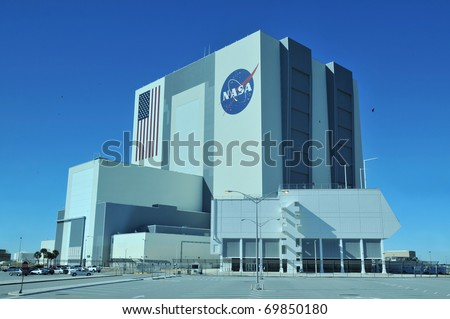 CAPE CANAVERAL, FL- DEC 28: The Vehicle Assembly Building at NASA, Kennedy Space Center in Florida, December 28, 2010. - stock photo