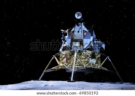 CAPE CANAVERAL, FL- JAN 2: Prototype of the Apollo 17 landing on the moon displayed at NASA, Kennedy Space Center in Florida, January 2, 2011. - stock photo