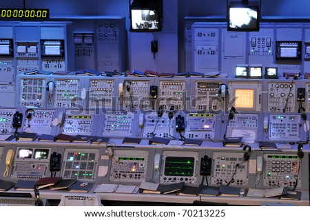 CAPE CANAVERAL, FL- JANUARY 2: The NASA's Control Station displaying control panels, countdown clocks and communication devices at Kennedy Space Center in Florida USA on January 2, 2011. - stock photo