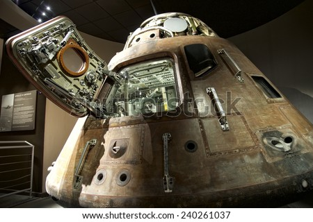 CAPE CANAVERAL, FLORIDA DECEMBER 5, 2014: Apollo 13 LEM capsule displayed at NASA, Kennedy Space Center in Florida. Apollo 13 was the third manned mission intended to land on the Moon.