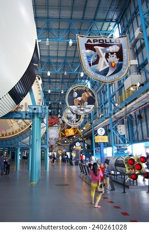 CAPE CANAVERAL, FLORIDA DECEMBER 5, 2014: Interior of NASA Kennedy Space Center, the day Orion was launched. The center is the launch site for every United States human space flight since 1968.