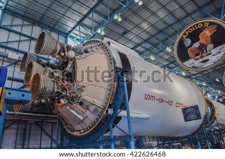CAPE CANAVERAL, FLORIDA - JANUARY 20, 2009 -  Apollo 11 was the first space mission that took men to the moon Americans Neil Armstrong and Buzz Aldrin on July 20, 1969. Elements furnished by NASA - stock photo