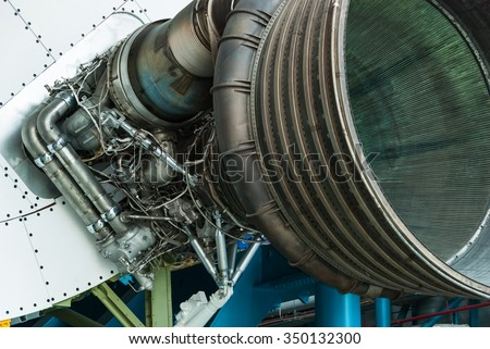 CAPE CANAVERAL, FLORIDA - JUNE 7, 2013: The Rocket Garden at Kennedy Space Center NASA.  Inside museum, historical rockets from explorations for every United States human space flight since 1968 - stock photo