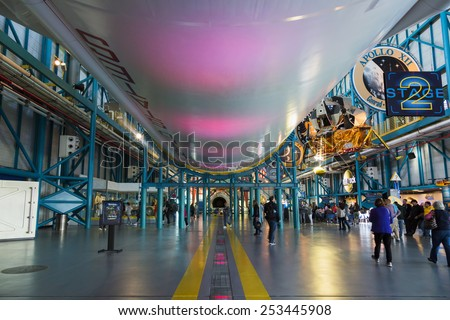 CAPE CANAVERAL, FLORIDA November 1th, 2014.  Interior of NASA Kennedy Space Center, Apollo Saturn V Center at Kennedy Space Center. This is the rocket used to go to the moon in 1969.  - stock photo