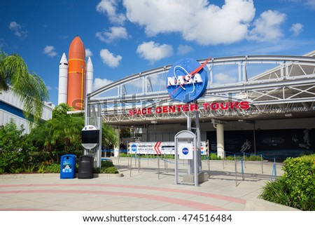 Cape Canaveral, Florida, USA - AUGUST 25, 2016: Apollo rockets on display in the rocket garden at Kennedy Space Center