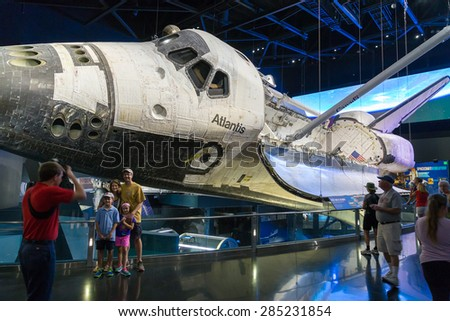 Cape Canaveral, Florida, USA - MARCH 20, 2015: NASA Kennedy Space Center Museum, shuttle Atlantis, a quick walk around - stock photo