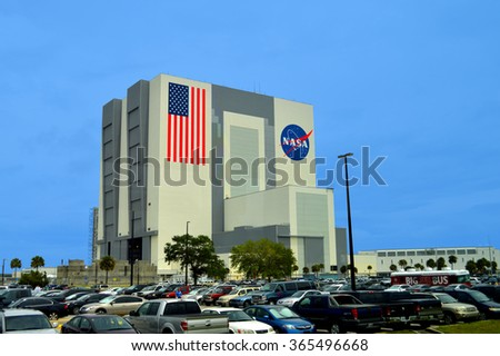 Cape Canaveral, Florida, USA - May 6, 2015: NASA Vehicle Assembly Building at Kennedy Space Center - stock photo