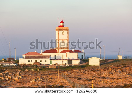Cape Carvoeiro lighthouse in Peniche, Portugal. Morning shot - stock photo