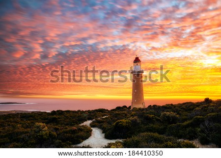 Cape Du Couedic Lighthouse Sunset - stock photo