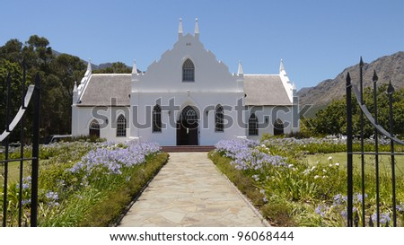 Cape Dutch church in Franschhoek, Western Cape Province, South Africa - stock photo