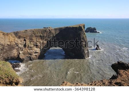 Cape Dyrholaey near Vik. Southern coast of Iceland - stock photo