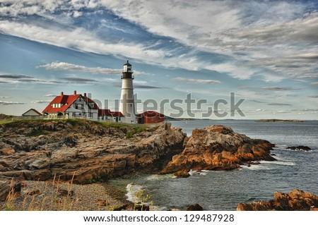Cape Elizabeth Lighthouse - stock photo