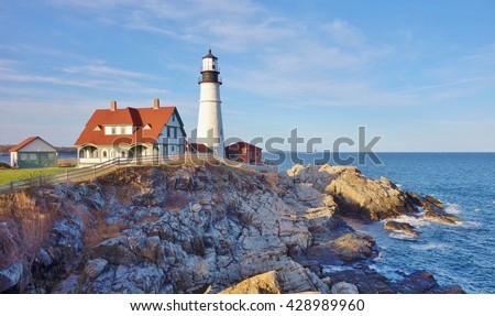 CAPE ELIZABETH, ME -30 APRIL 2016- The Portland Head Light is an historic lighthouse located in Casco Bay in the Gulf of Maine.