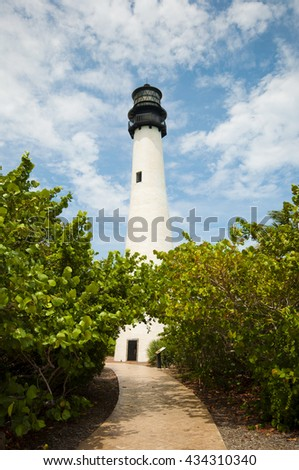 Cape Florida Lighthouse in Bill Baggs State Park in Key Biscayne Florida - stock photo