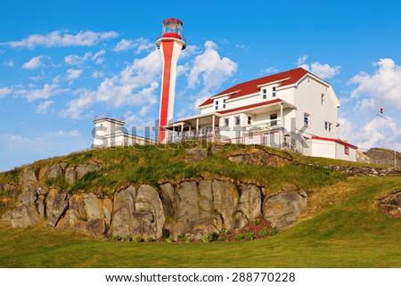 Cape Forchu Lighthouse - Yarmouth, Nova Scotia, Canada - stock photo