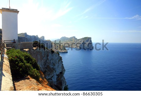 Cape formentor in the coast of mallorca (and the chemtrails on the sky),balearic islands