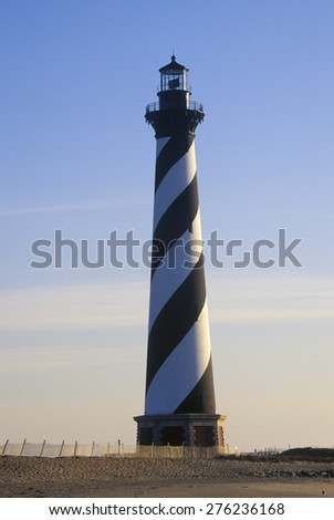 Cape Hatteras Lighthouse at Cape Hatteras National Seashore, NC - stock photo