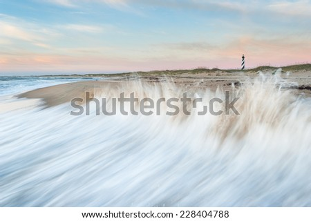 Cape Hatteras Lighthouse Hatteras Island Outer Banks North Carolina Sunrise Scenic - stock photo