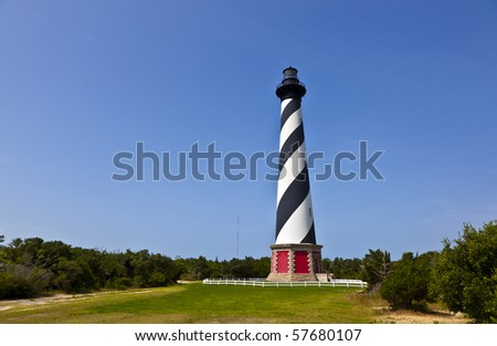 Cape Hatteras Lighthouse in Buxton on Hatteras Island on the Outer Banks of North Carolina