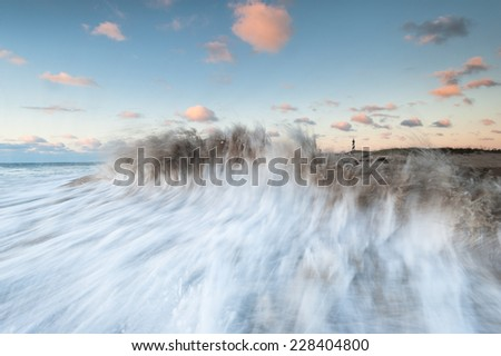 Cape Hatteras Old Lighthouse Beach Crashing Wave Outer Banks North Carolina - stock photo