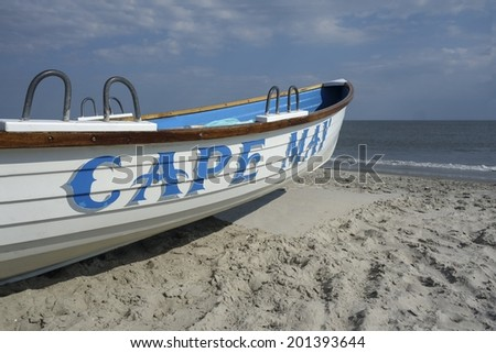 Cape May Lifeguard Boat on the Beach - stock photo