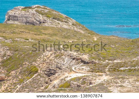Cape of Good Hope. Cape Peninsula Atlantic ocean. Cape Town. South Africa view from Cape Point - stock photo