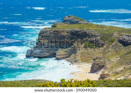 Cape of Good Hope.  The Cape of Good Hope (Cape of Storms) is a rocky headland on the Atlantic coast of the Cape Peninsula, South Africa. - stock photo