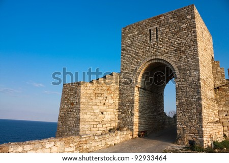 Cape of Kaliakra is a long and narrow headland in the Southern Dobruja region of the northern Bulgarian Black Sea Coast - stock photo