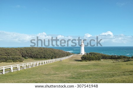 Cape Otway lighthouse,  White house founded in 1848, in great ocean road, Australia - stock photo