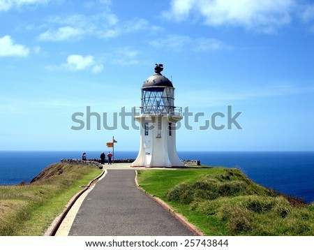 Cape Reinga Lighthouse, northern most tip of New Zealand - stock photo