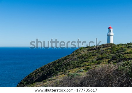 Cape Schanck Lighthouse facing Bass Strait, separating the Australian state of Victoria from the island state of Tasmania