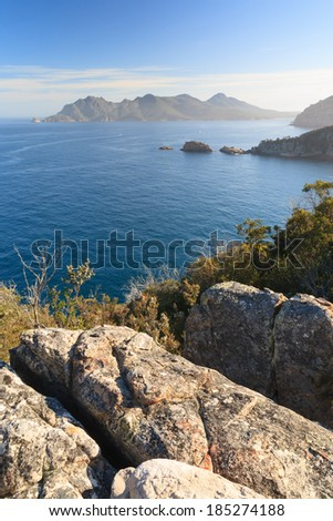 Cape Tourville lookout over The Hazards in Freycinet National Park Tasmania Australia